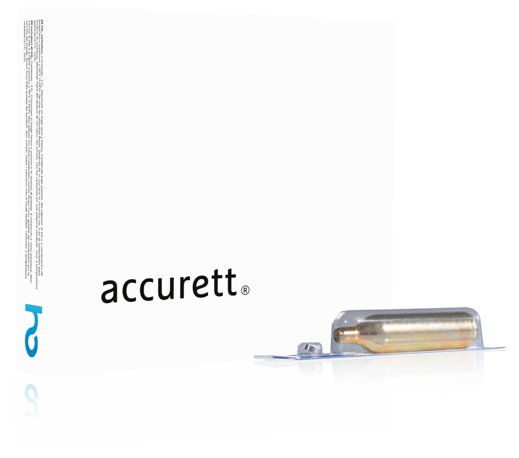Box of 16g CO2 cartridges of Accurett